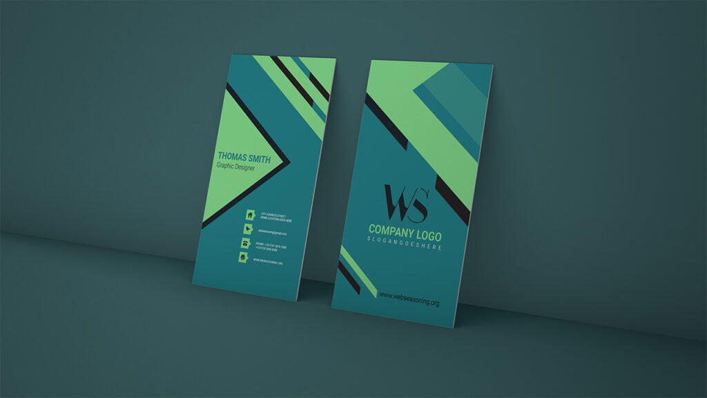 Graphic Designer vertical business card Green/Blue