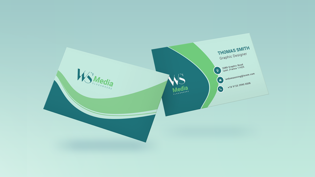 Graphic Designer Visiting Card in Green/Blue