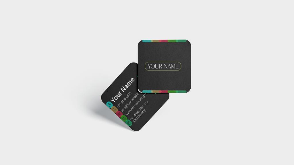 Business Card Mockup - Square Round Corner