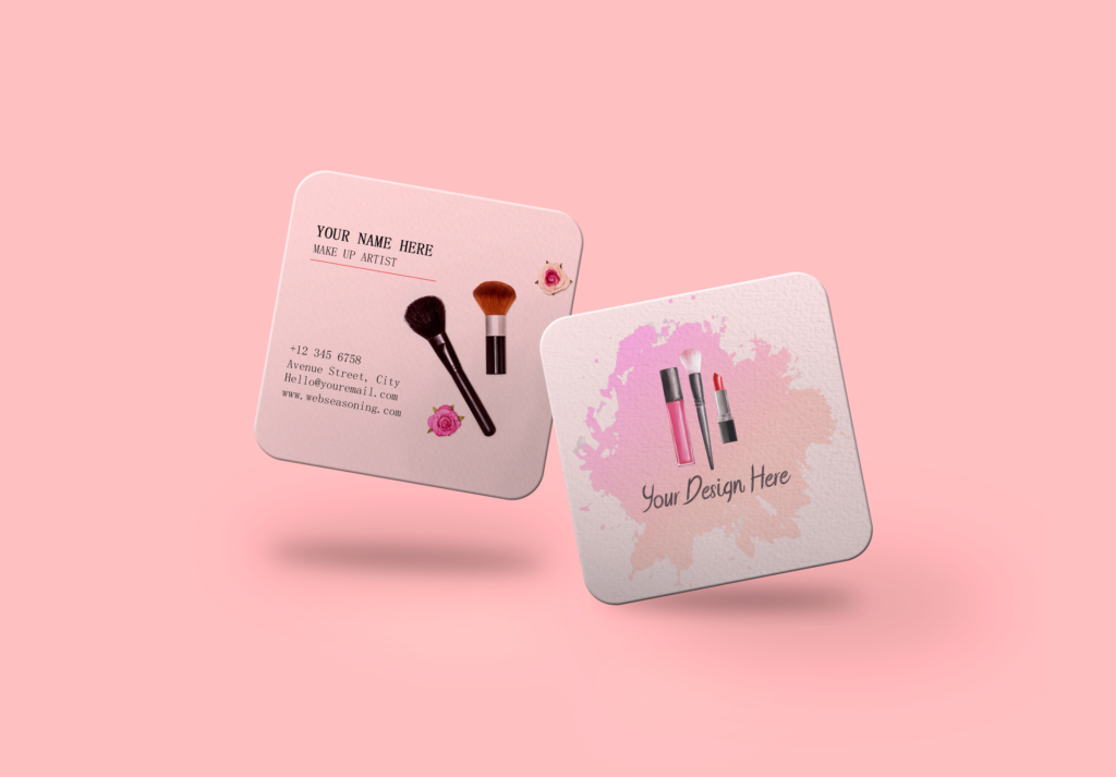 Rounded Square Pink Business Card