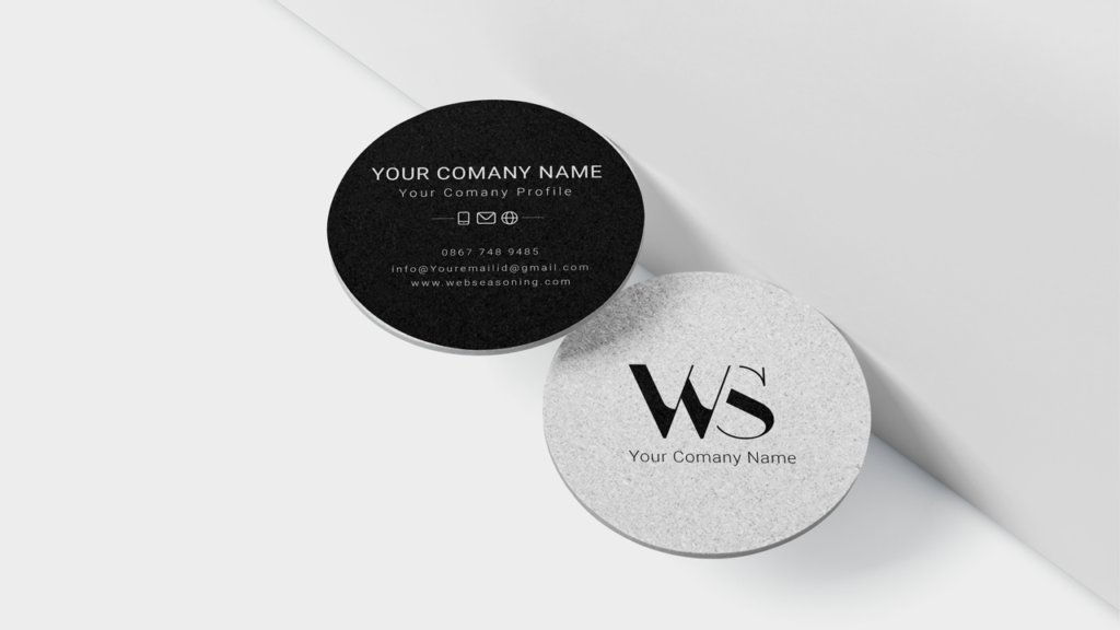 Round Business Card Black and white