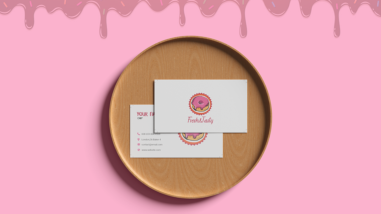 White Background Bakery Business Card Template