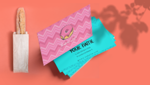 Pink and light blue Combination Bakery Business Card