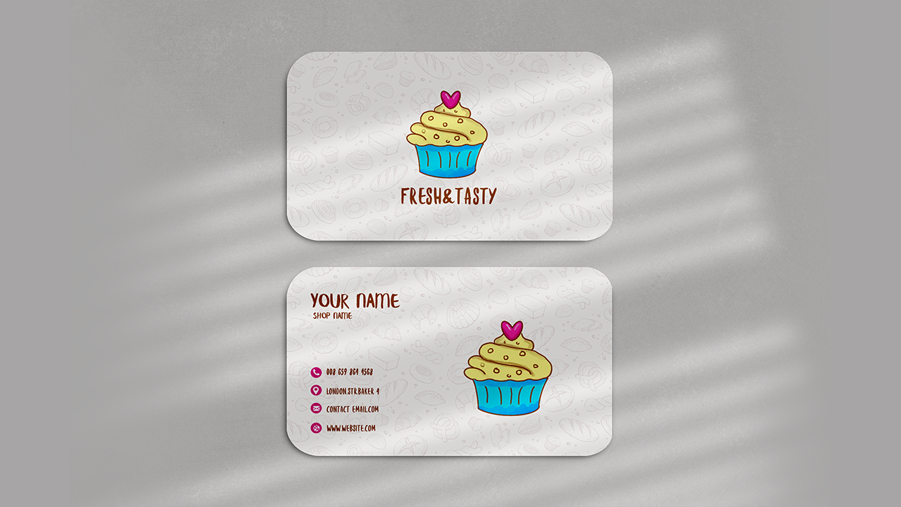 White Bakery Round Corner Business Card Template