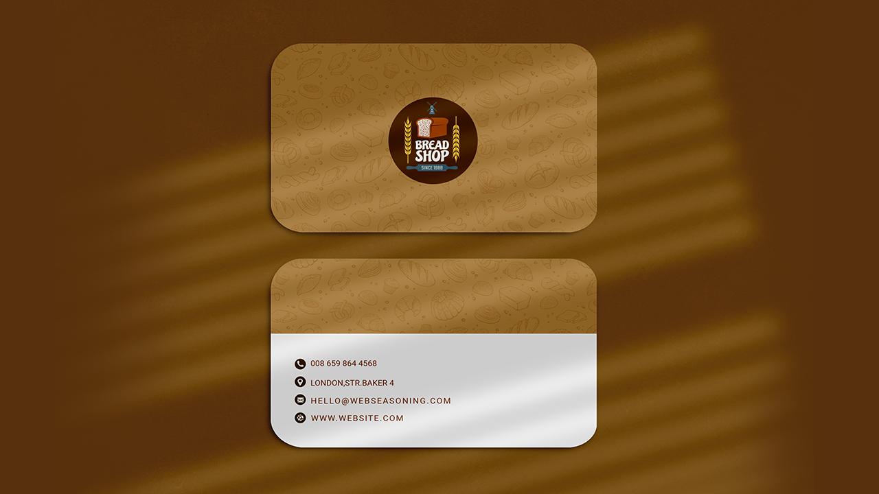 Brown Bakery Round Corner Business Card