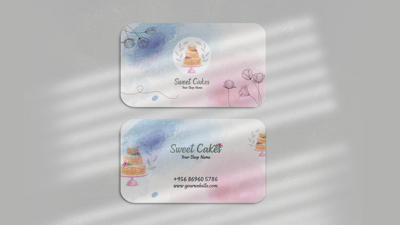 Watercolor Cake Visiting Card