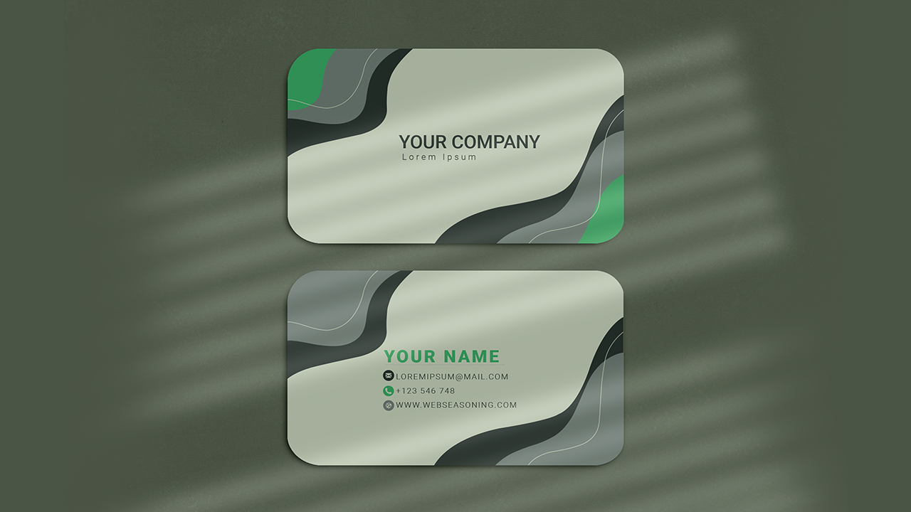 abstract green and red visiting card