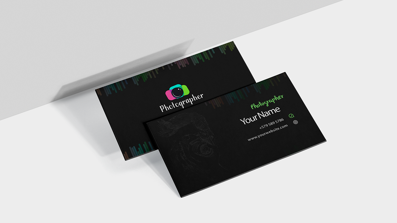 black photography visiting card design