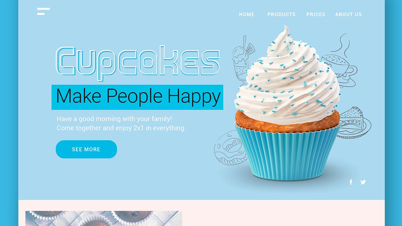 Blue Cupcakes Landing Page