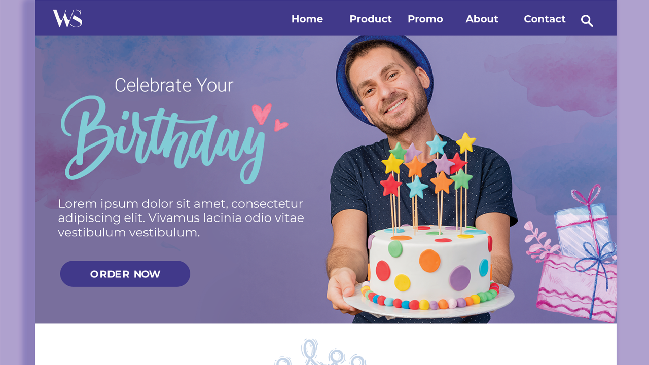 Online cakes ordering adaptive landing page color template