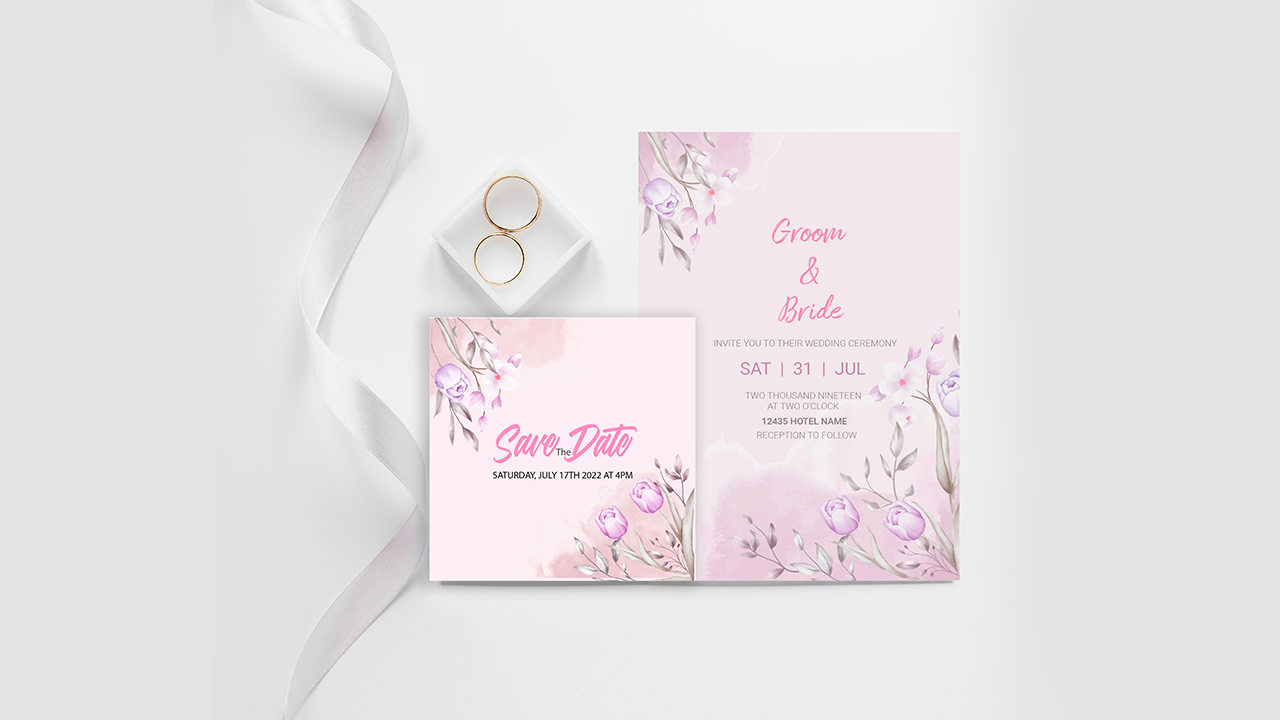 Pink floral and leaves wedding invitation card