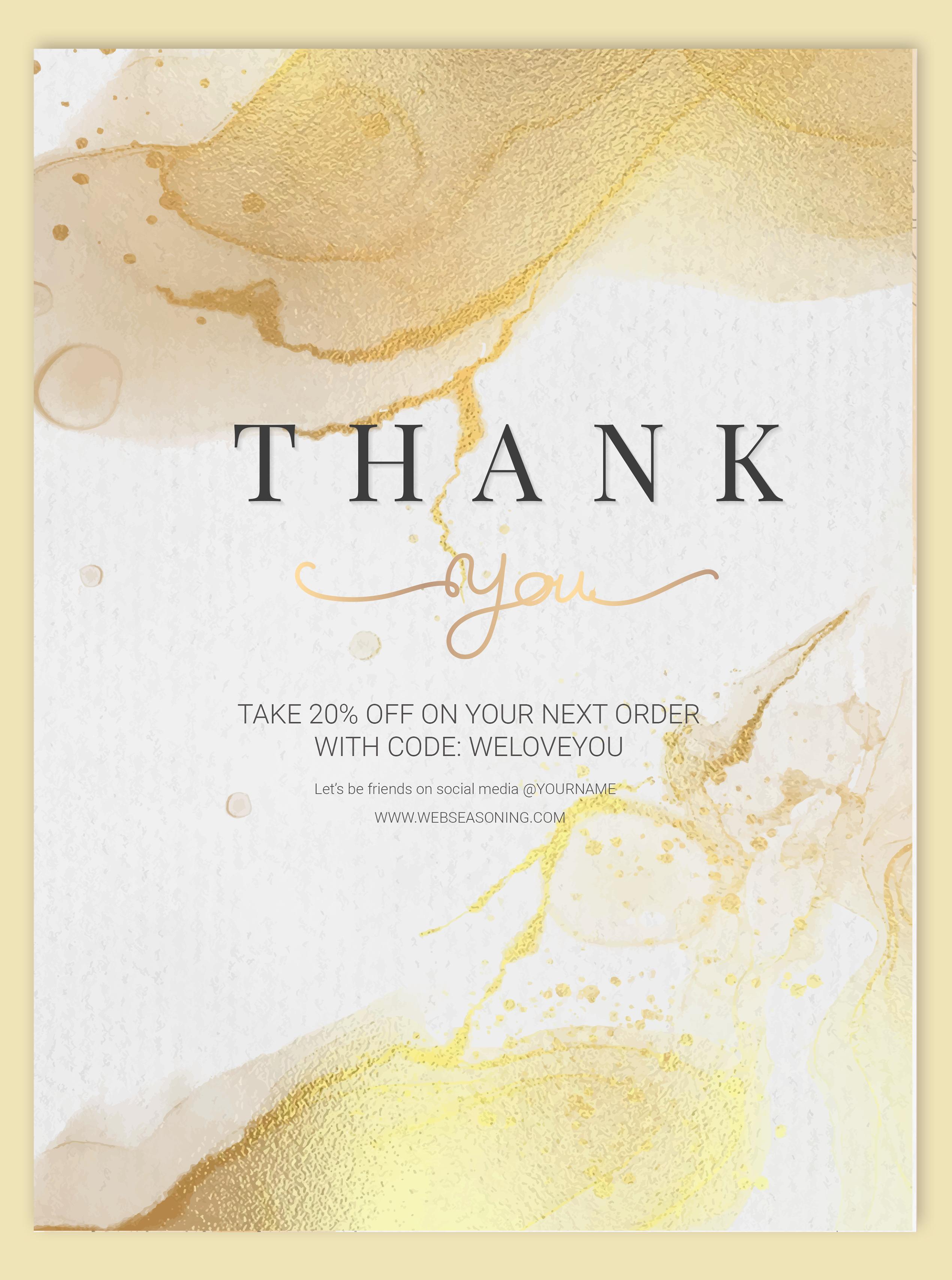 Thank you watercolor card design vector