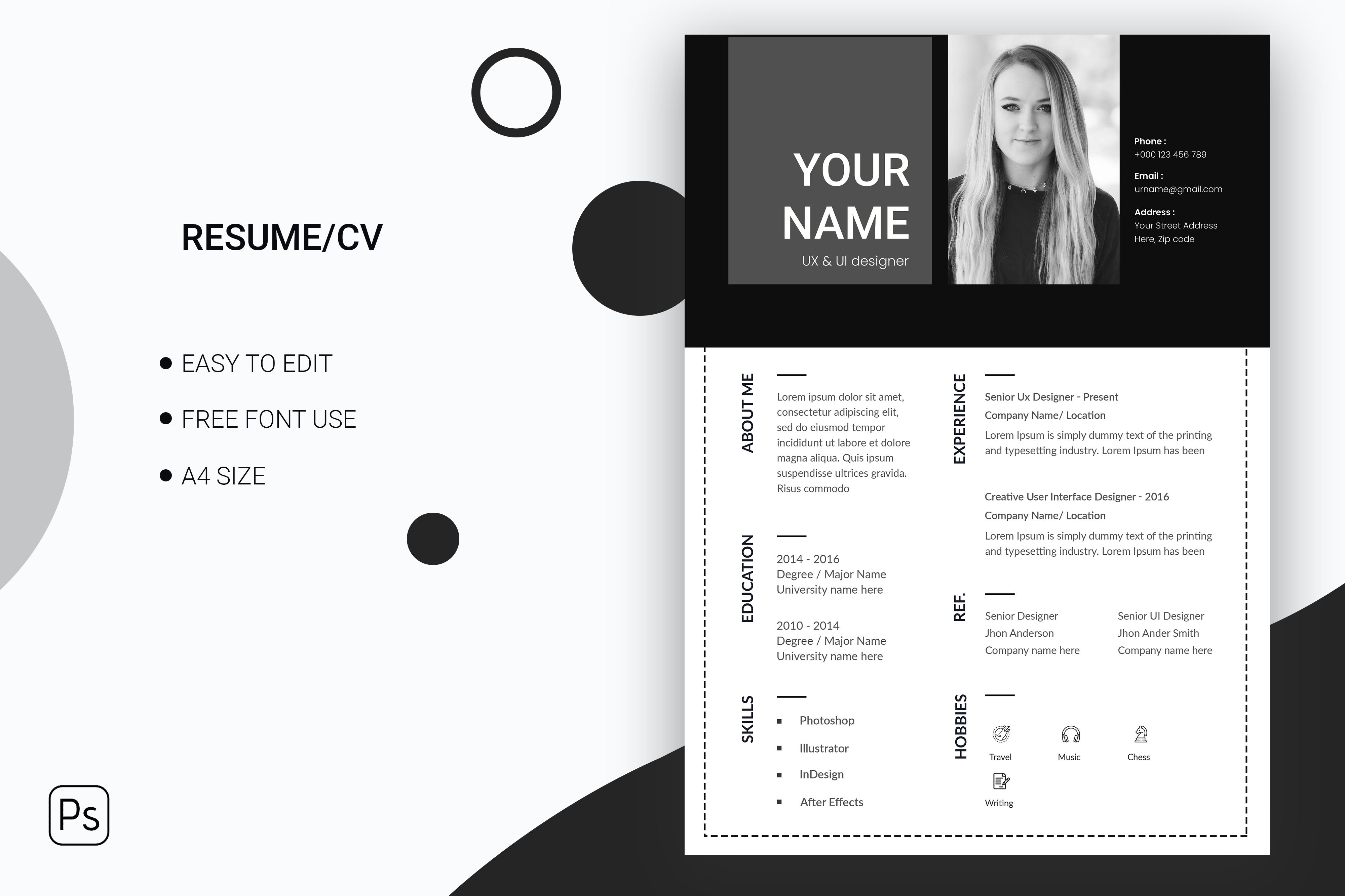 Clean & minimal resume or cv design template