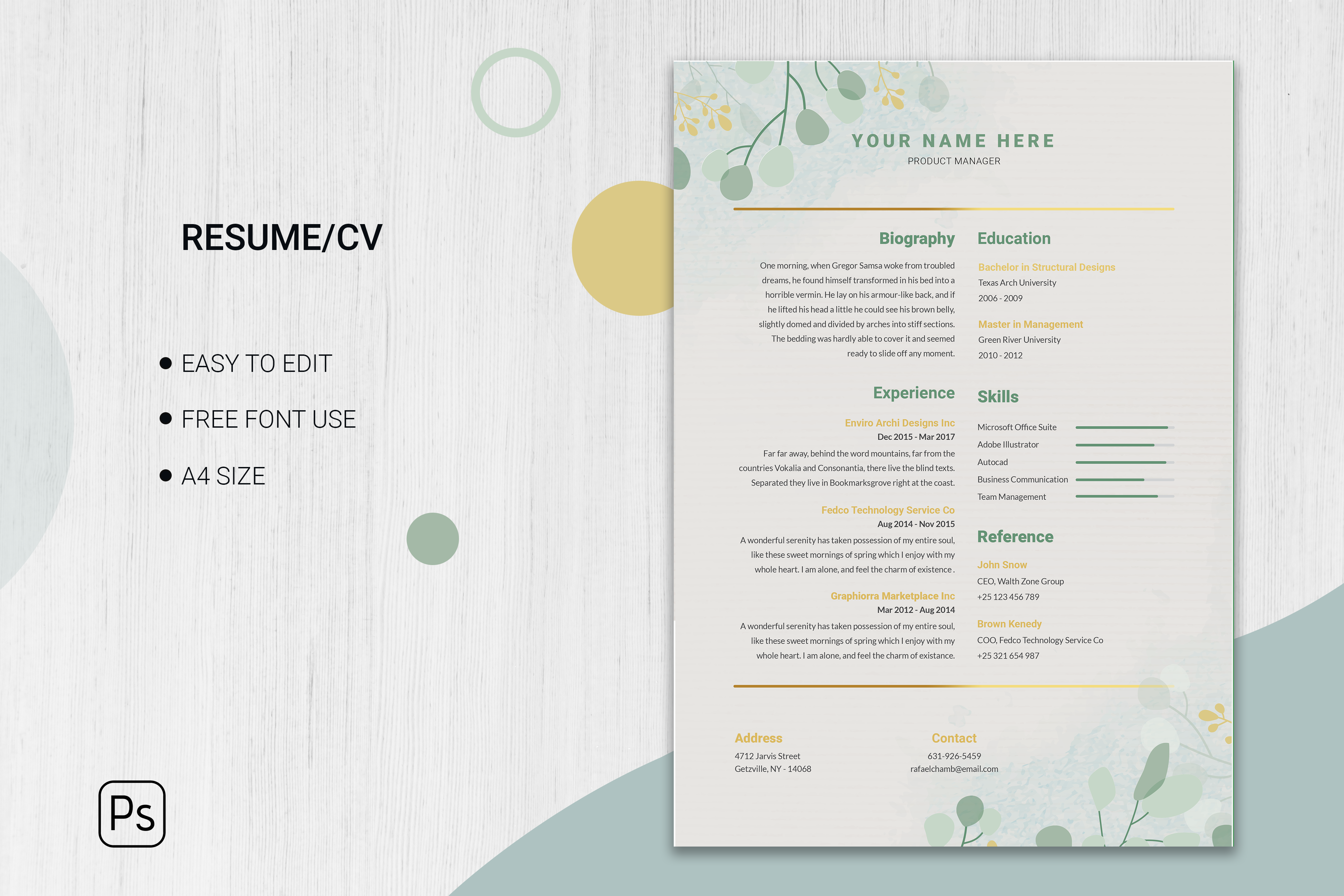 Editable cv format download Free Vector