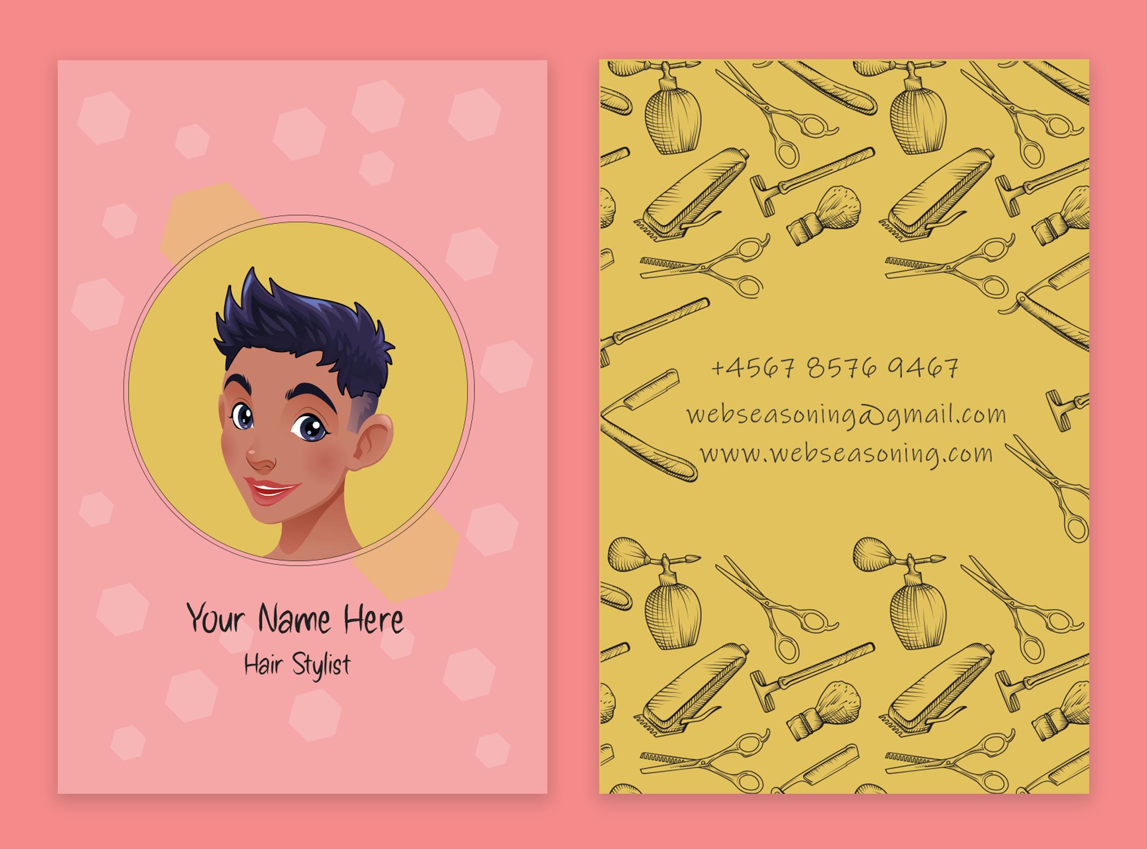 Kawaii style business card template