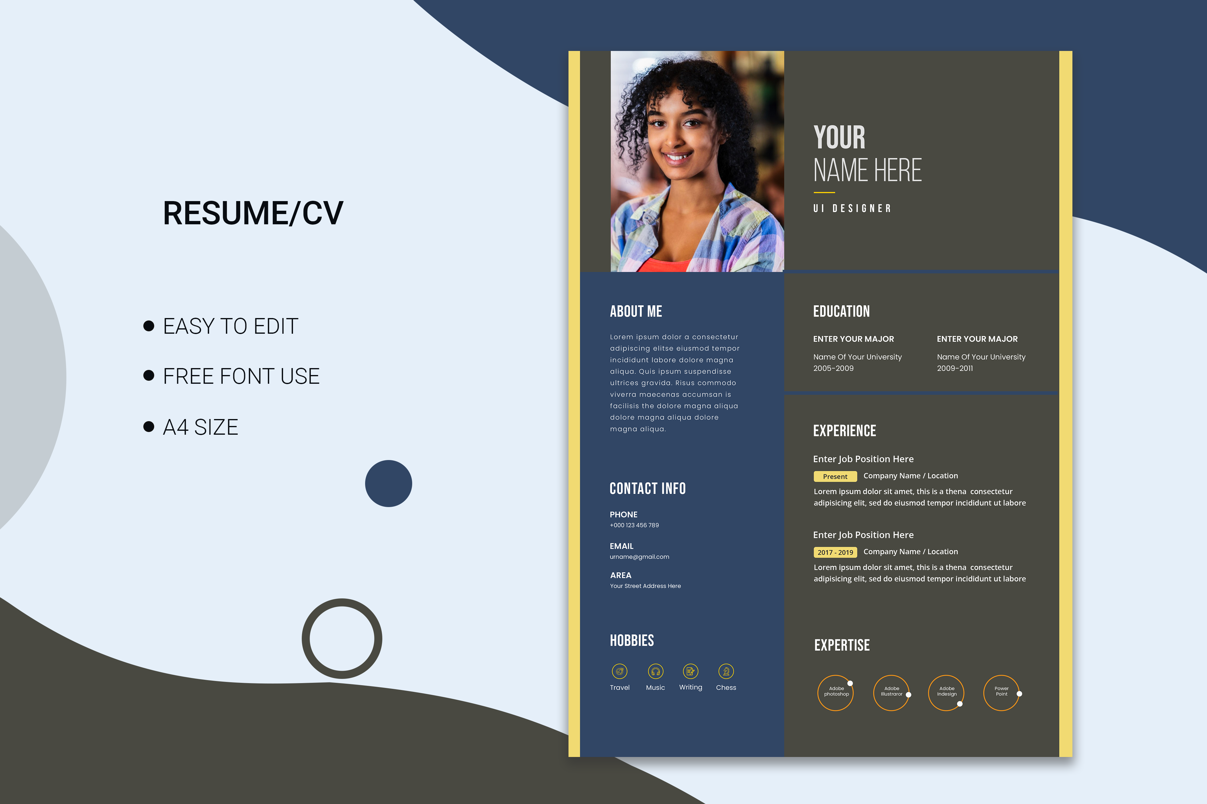 Minimalist cv template with photo space Free Vector