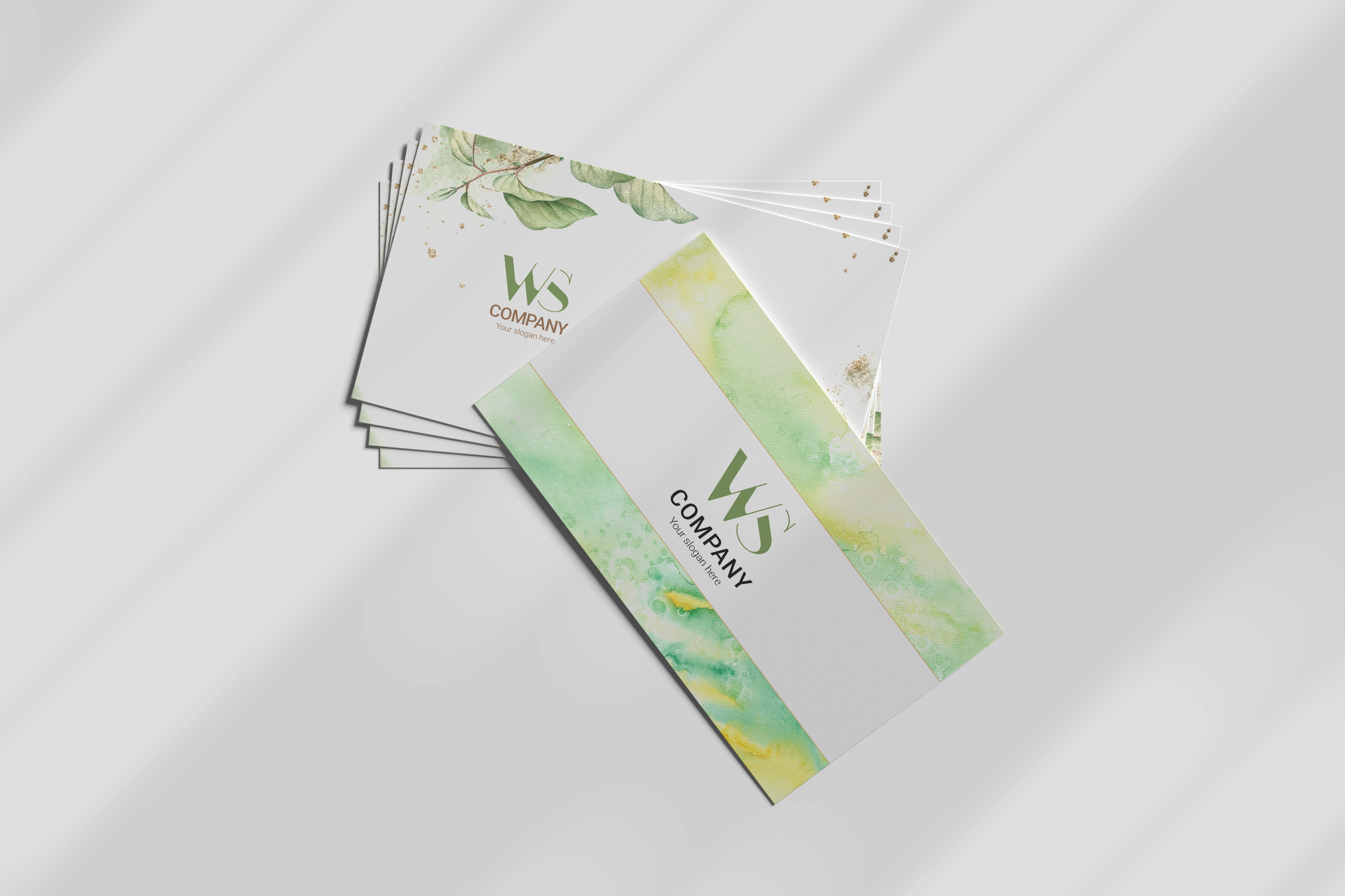 Abstract business cards template green leave