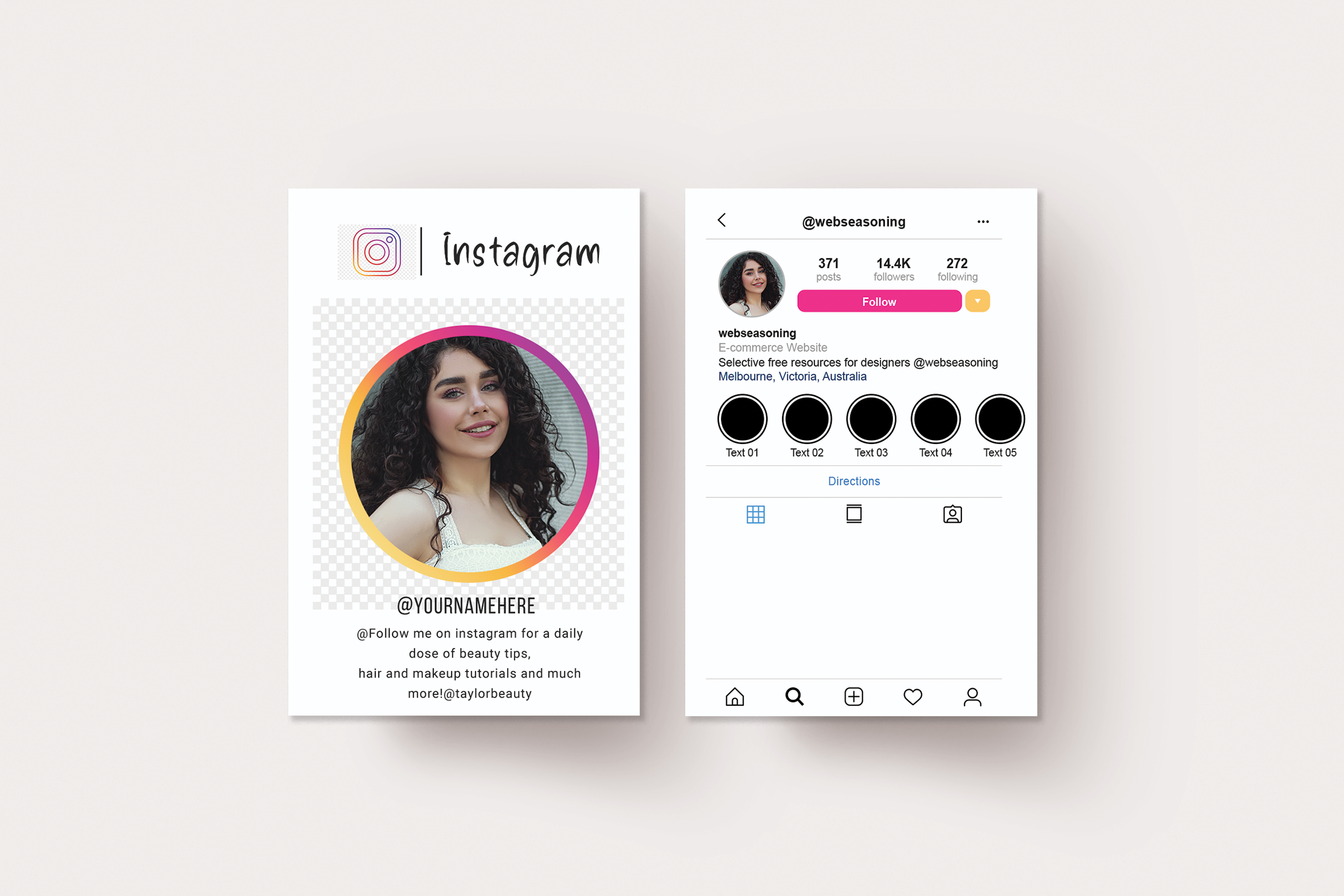 Instagram business card, Personal business card