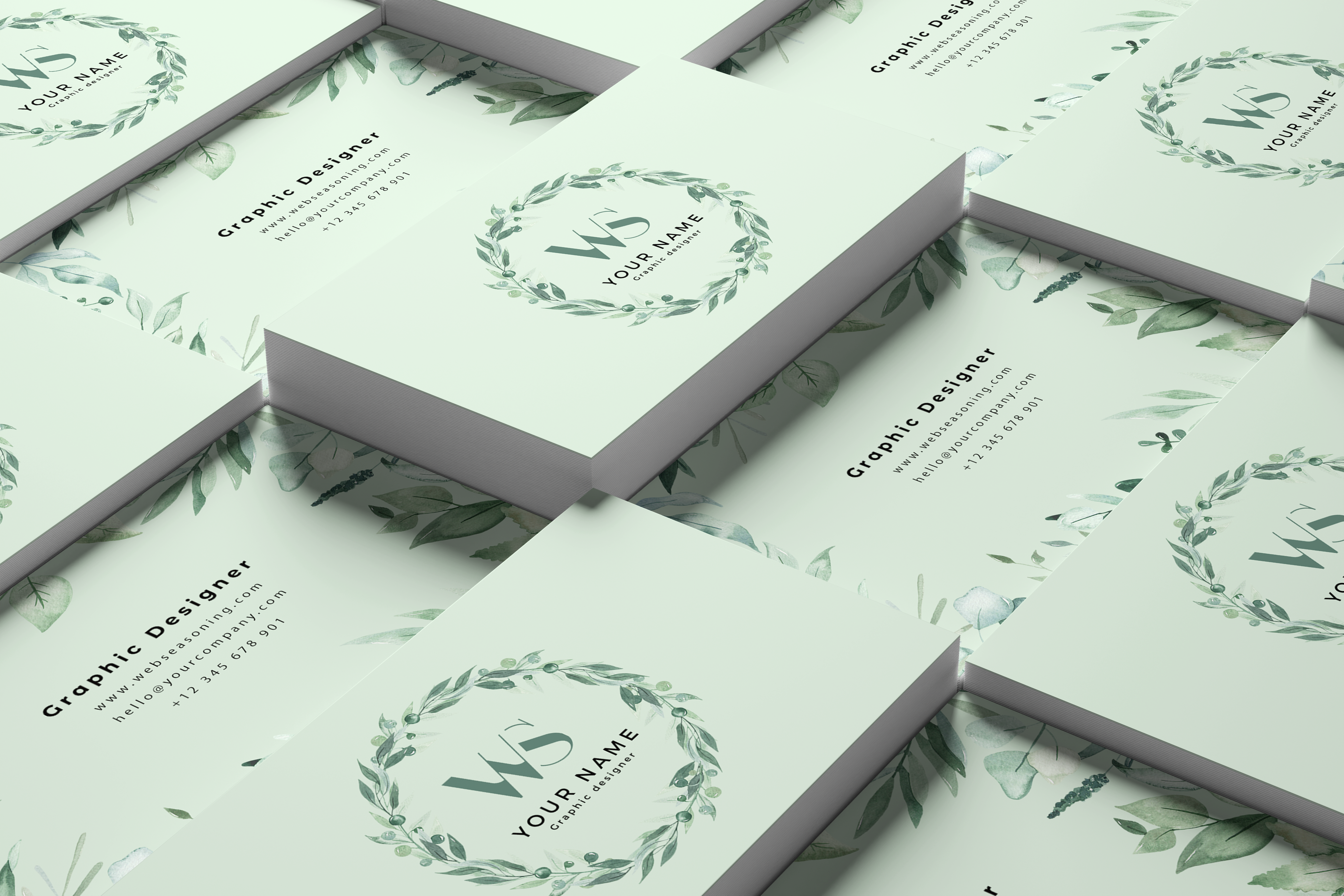 Nice floral business card Free Psd