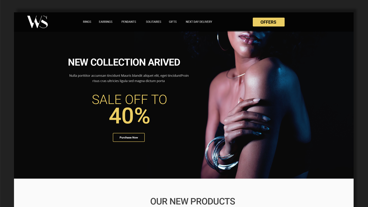 Black Themed Jewelry Landing Page Template