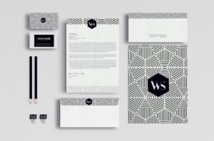 Business Identity Design Templates Stationery Set Geometric Pattern