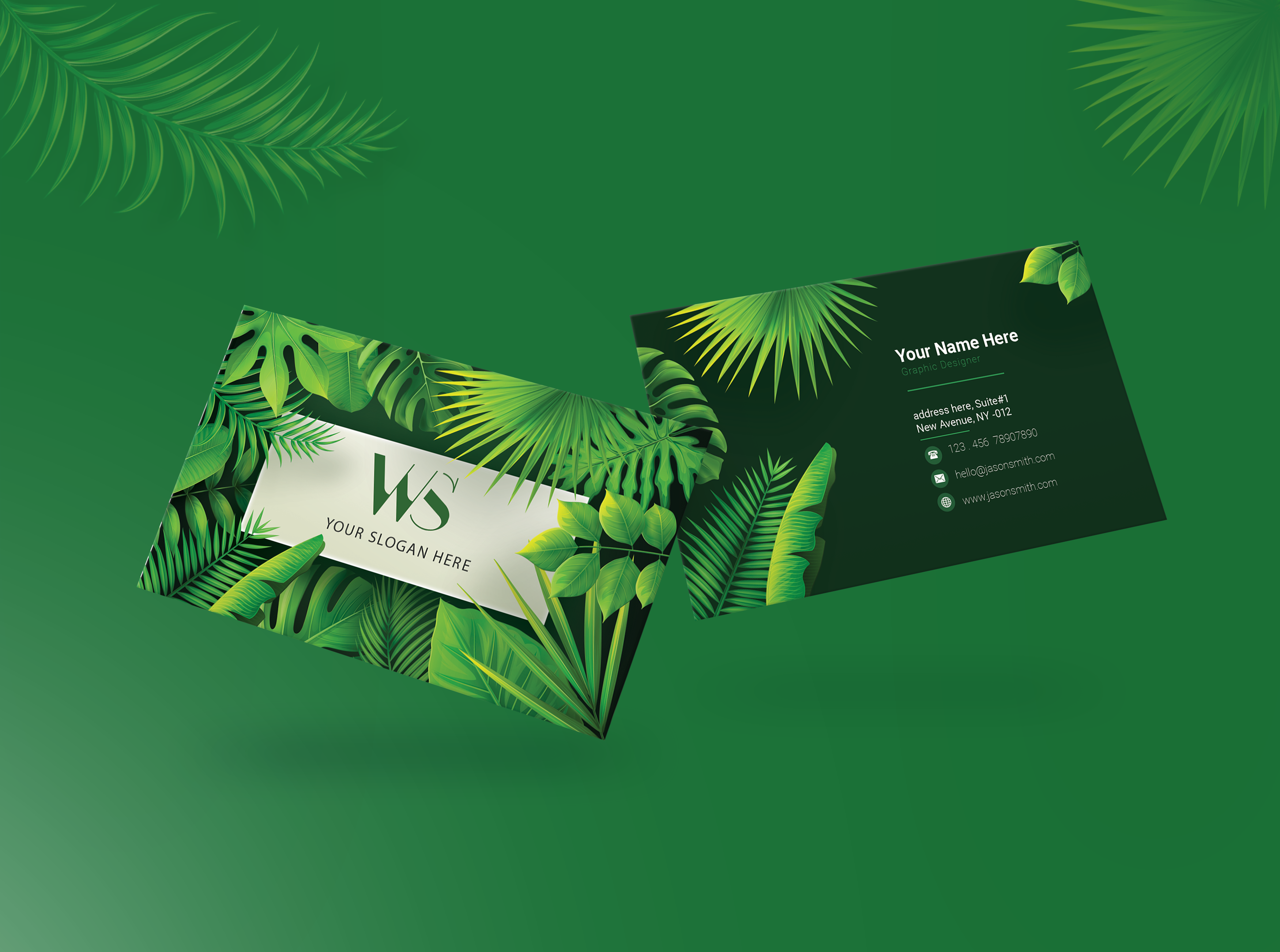 Elegant Business Card with Tropical Leaves