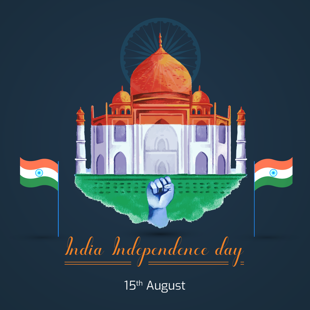 Hand painted watercolor india independence day post