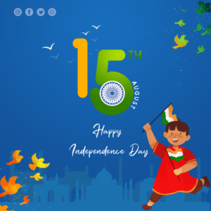 Indian independence day background with playing kids Post