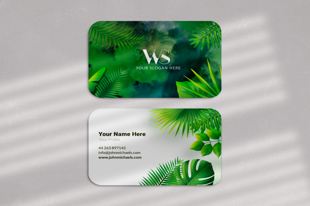 Personalized Green Tropical Business Card, Watercolor Background