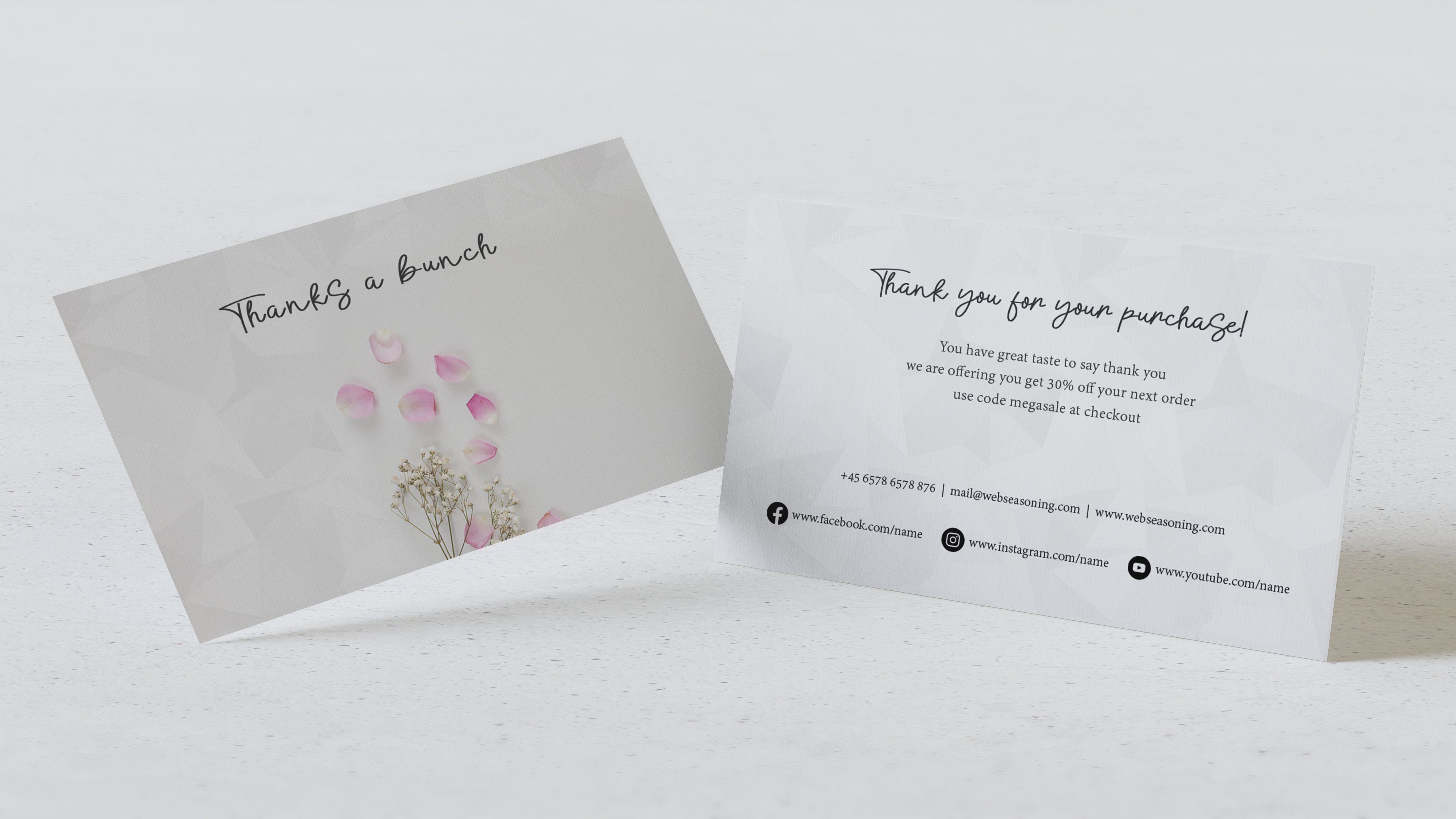 The beautiful floral thank you card