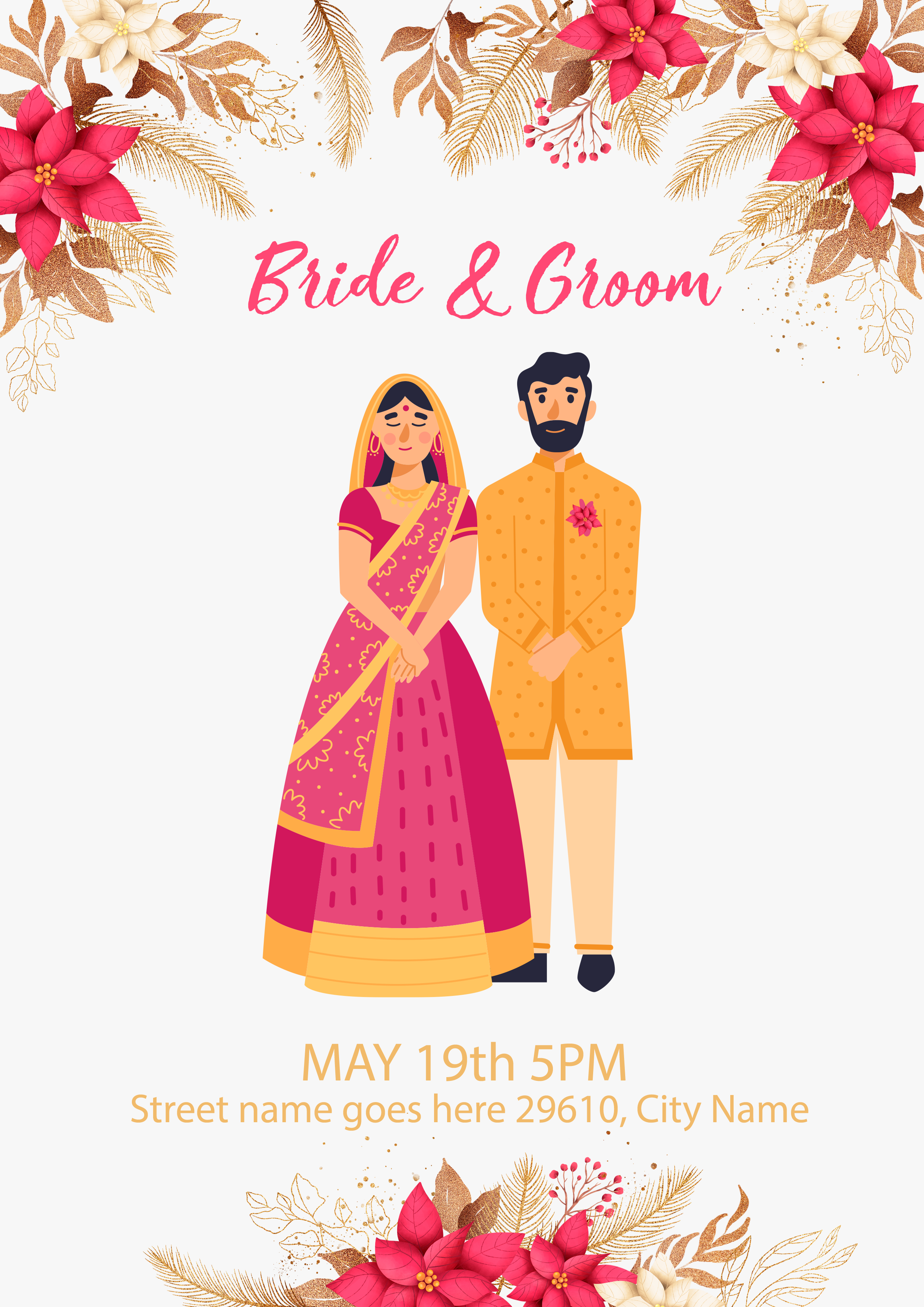 Wedding card template design with indian couple