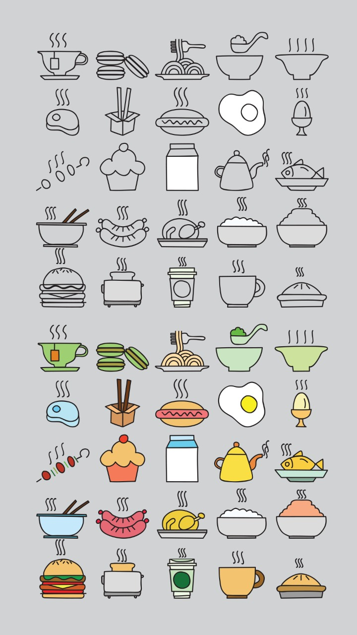 Fast food related color line icon set