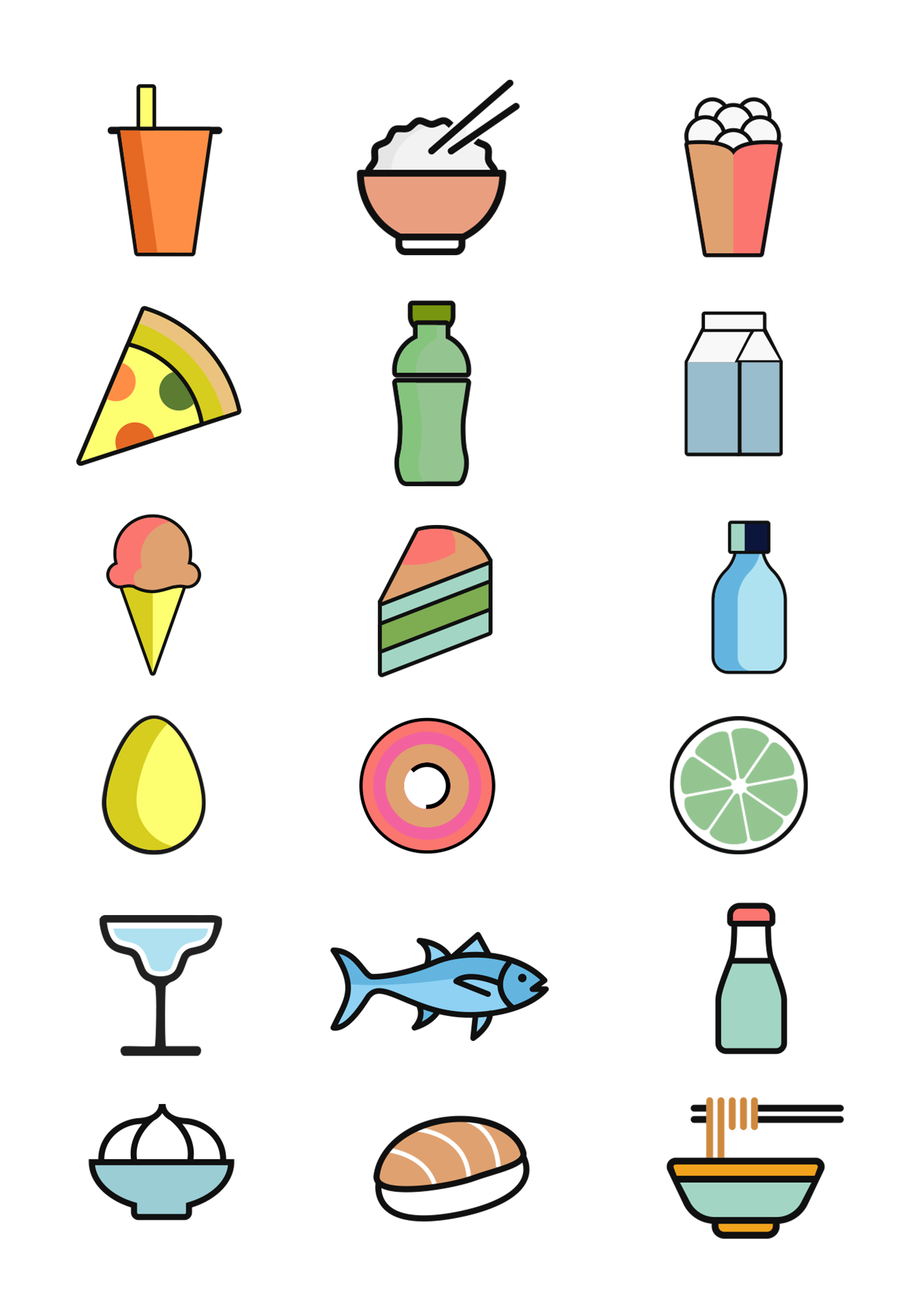 Food and drink icon set